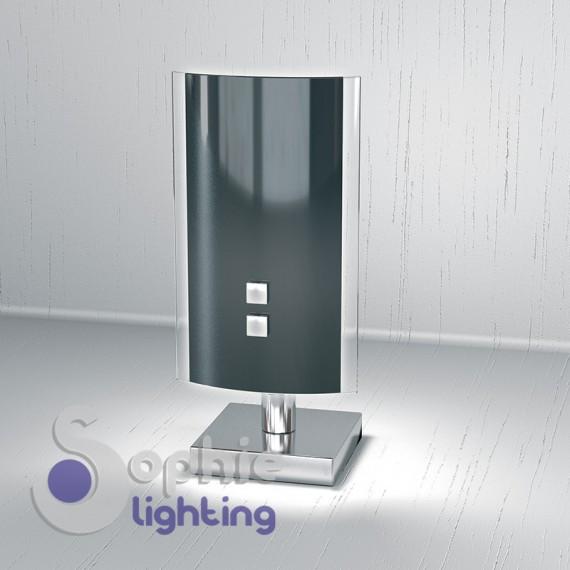 Abat jour lampada design moderno vetro curvo nero base cromo comodino