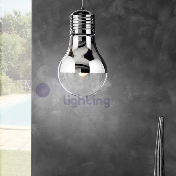 Lampada sospensione forma lampadina design moderno cromo sconto promo