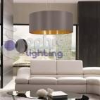 Lampadario altezza regolabile paralume 53 cm moderno grigio oro cucina