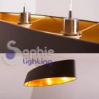 Lampada sospensione lunga 1 metro paralume grigio oro moderna tavolo