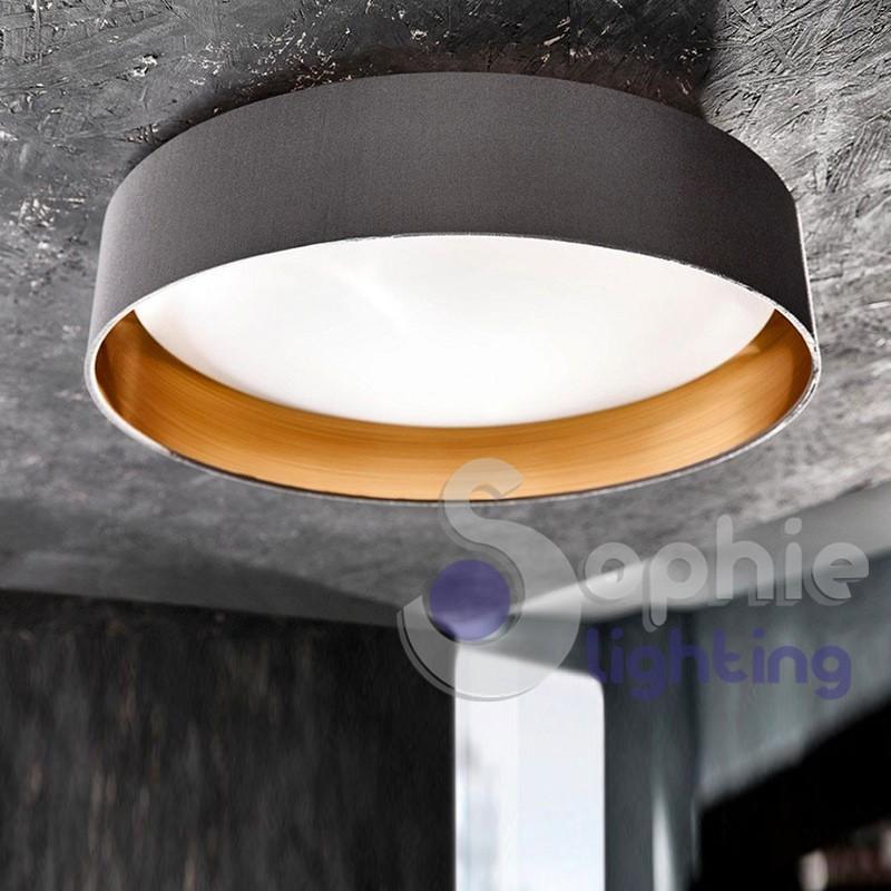 Plafoniera LED rotonda paralume grigio oro 40 cm design moderno salone
