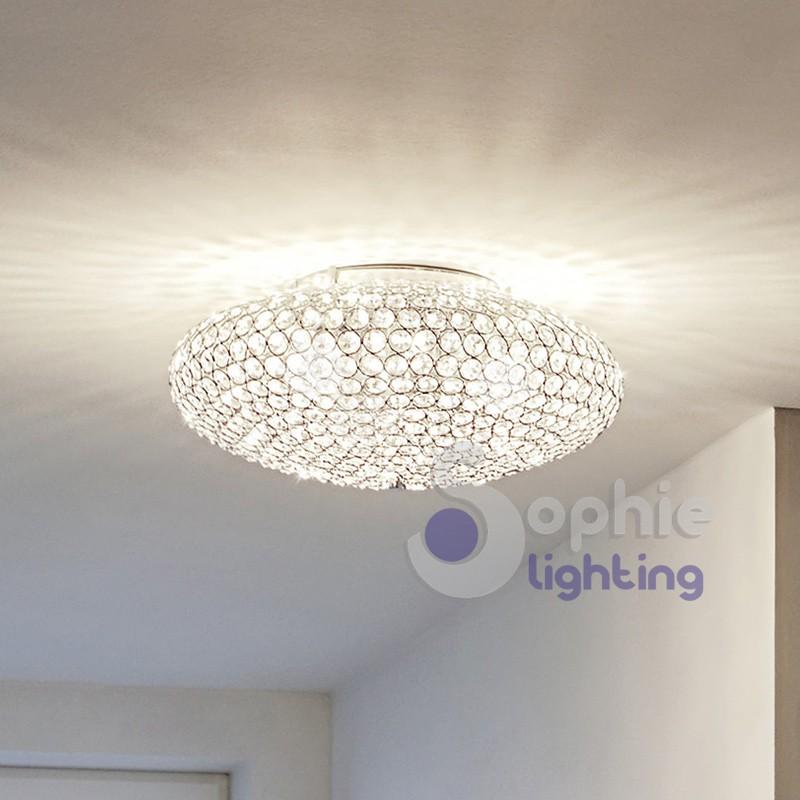 Plafoniera rotonda cristalli anelli cromata design moderno elegante