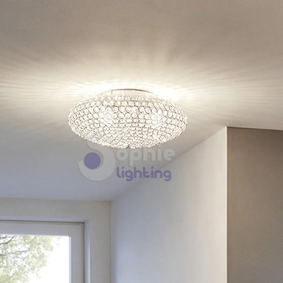 Plafoniera anelli cromo cristalli trasparenti moderna stanza da letto