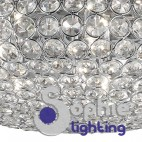 Sospensione rotonda 35 cm moderna cromata cristalli tavolo soggiorno