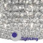 Lampadario sospensione 54 cm anelli cristalli cromo elegante soggiorno