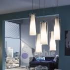 Sospensione 6 luci doppio vetro cilindro bianco satinato regolabile