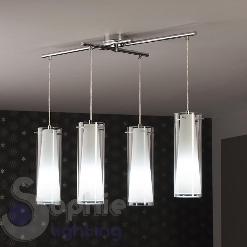 Sospensione 4 luci cilindri vetro pendenti barra 90 cm tavolo penisola