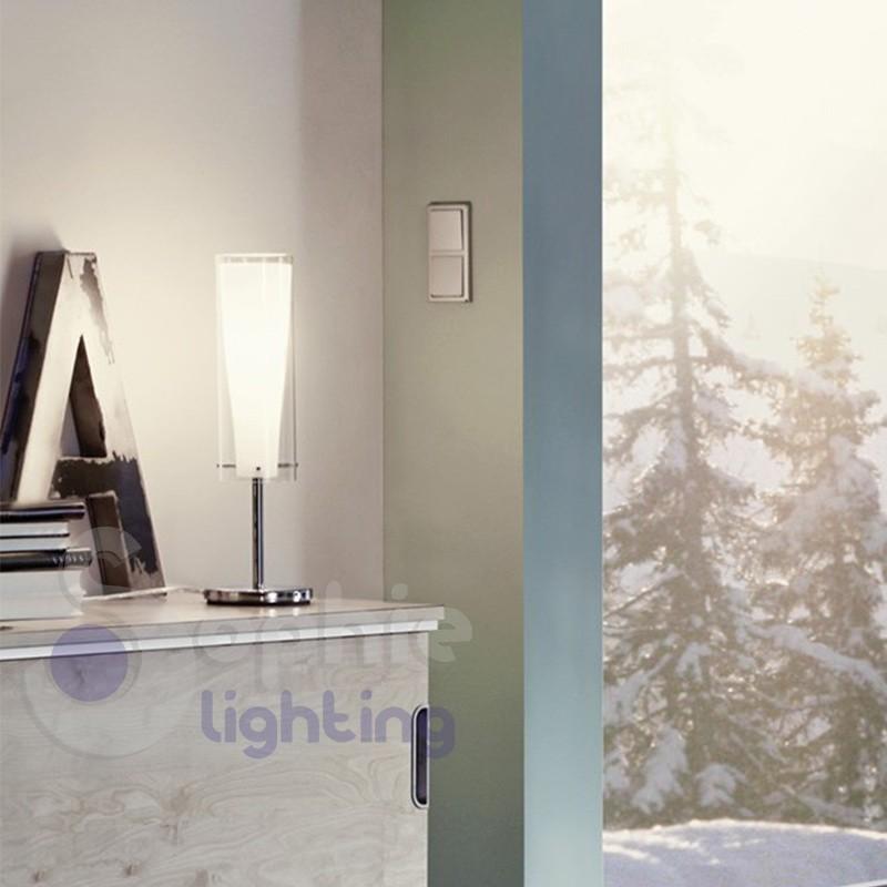 Abat jour lampada tavolo design moderno cromo vetro cilindro comodino