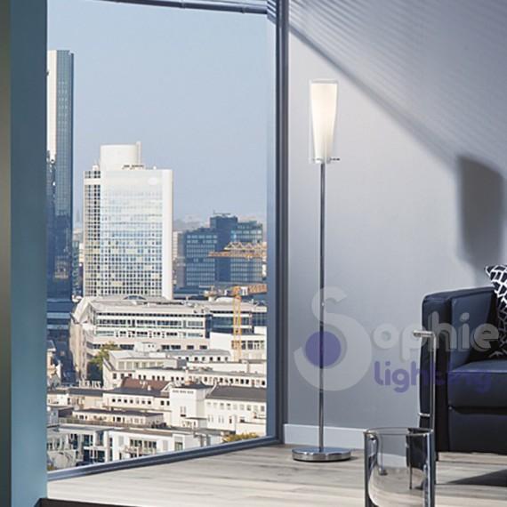 Piantana lampada terra acciaio cromo vetro cilindro moderna soggiorno