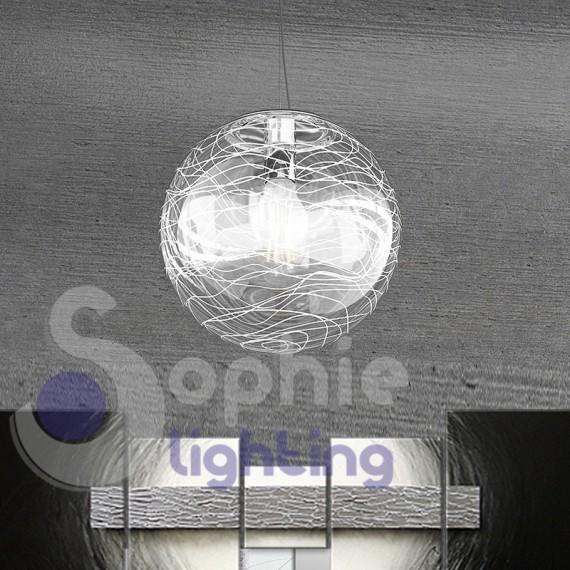 Lampada sospensione globo decoro strisce bianche design moderno cucina