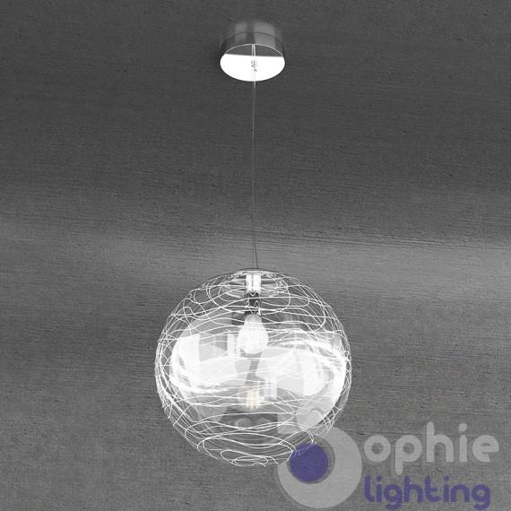 Lampadario sfera decorata fili bianchi altezza regolabile soggiorno