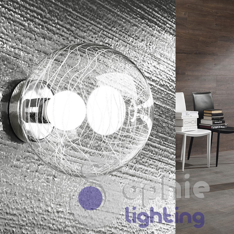 Applique sfera trasparente decori binchi design moderno cromo corridoi