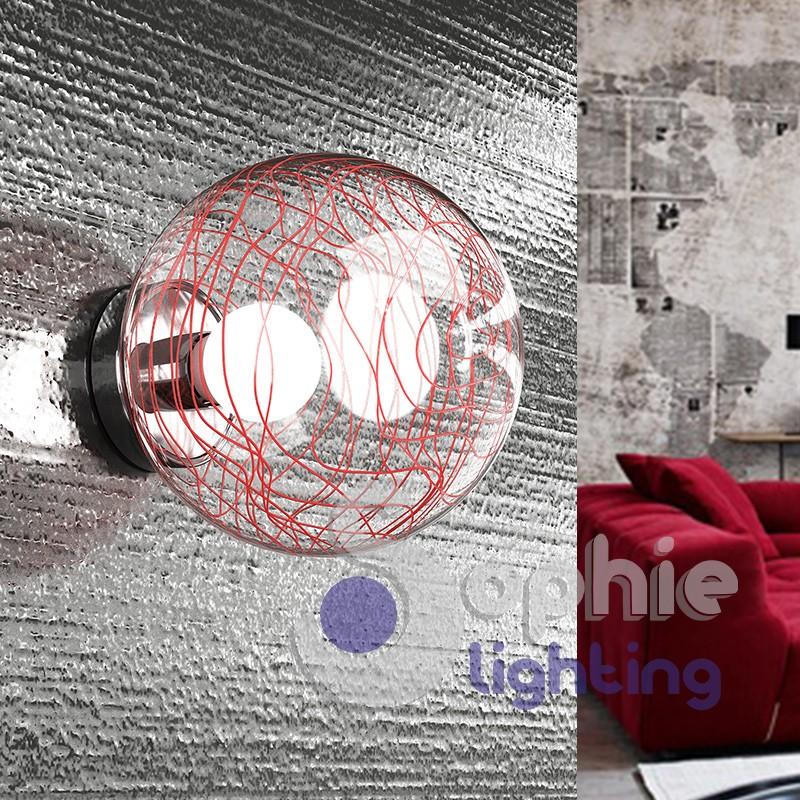Lampada parete globo design moderno vetro decorato rosso specchiera