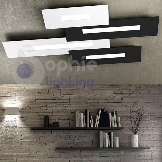 Plafoniera soffitto LED 76W lampade sostituibili bicolore bianco nero