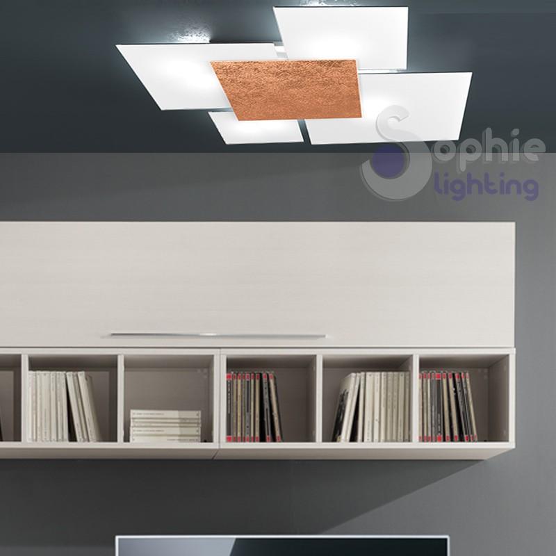 Plafoniera 4 vetri design moderno minimal decoro foglia rame ingresso