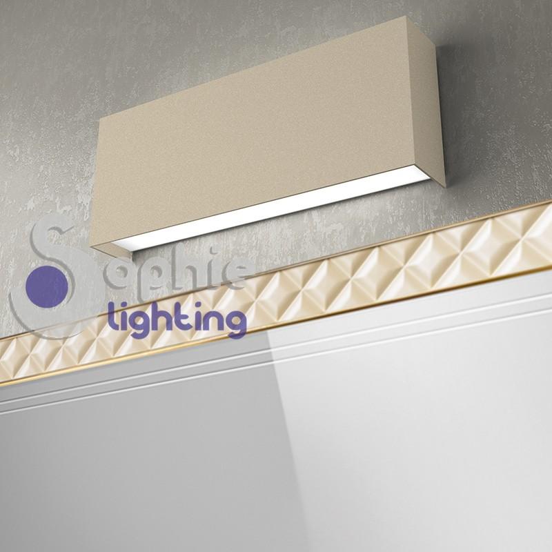 Applique moderna LED doppia emissione luce alto basso tortora bagno