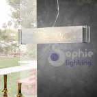 Lampada sospensione vetro decoro Klimt design moderno cromo cucina