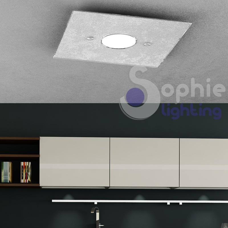 Plafoniera design ultra sottile LED sotituibili luce calda argento