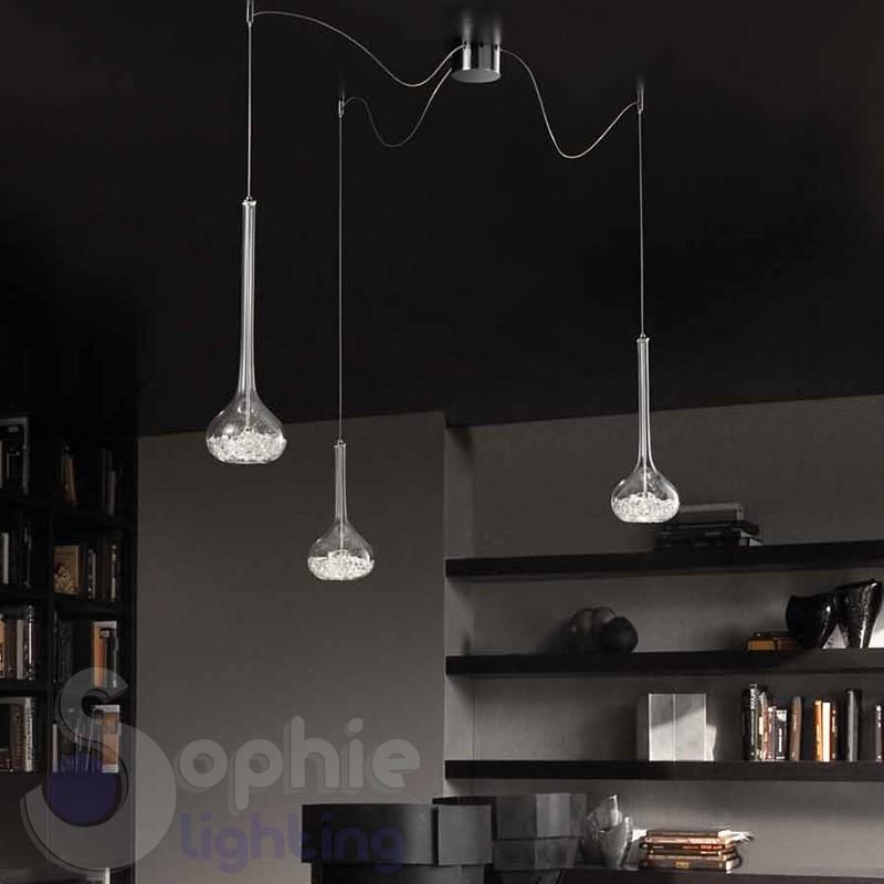 sospensione 3 luci design vetro cristallo