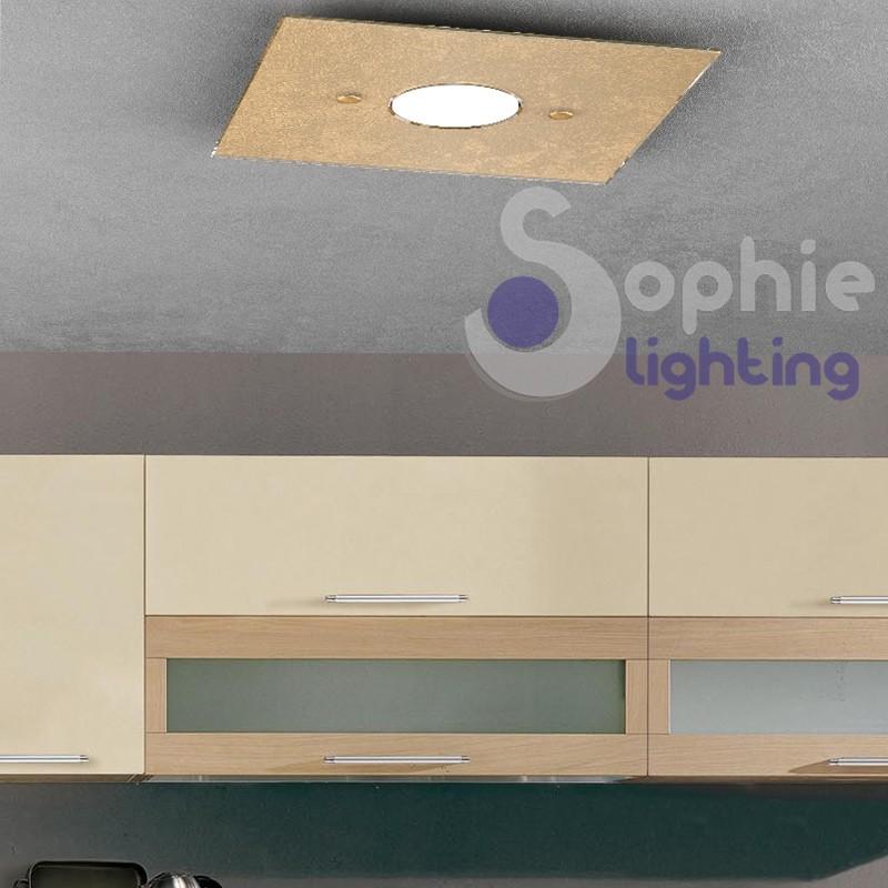 Lampada soffitto basso mansarda LED 7w sostituibile design foglia oro