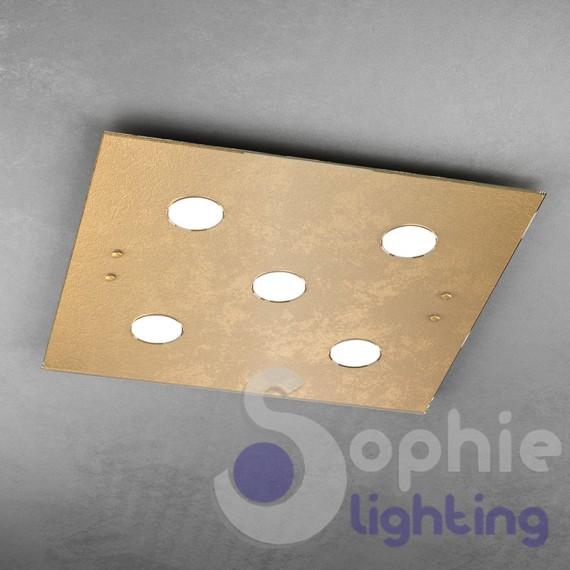 Plafoniera LED quadrata 60x60 cm foglia argento luce calda soggiorno