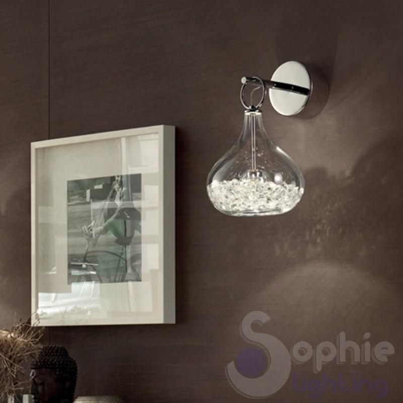 Applique parete moderno acciaio cromato sfere vetro applique moderne - Applique per bagno ...