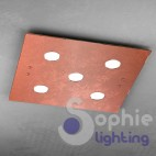 Plafoniera LED luce bianca vetro rosso moderna design minimal cucina