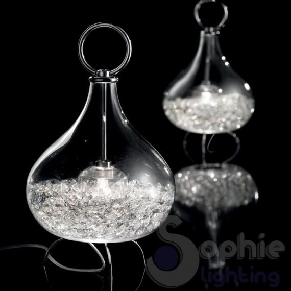 Lampada tavolo design vetro soffiato cristallo