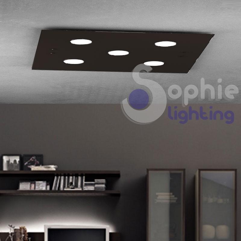 Plafone pannello LED lampade sostituibili vetro marrone design moderno