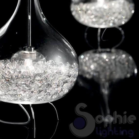 Lampada vetro colato crystal idea creativa della casa e for Lampadario ventaglio