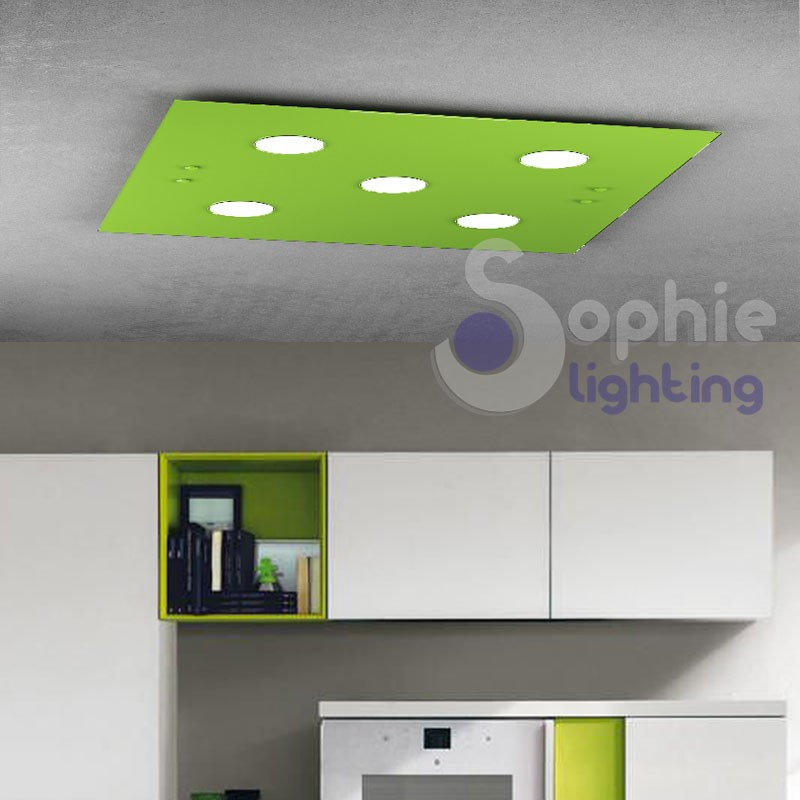 Plafone LED colore luce a scelta lampadine sostituibili vetro verde