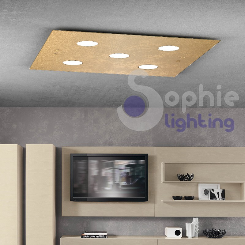 Pannello plafone LED luce calda vetro foglia oro design minimal salone