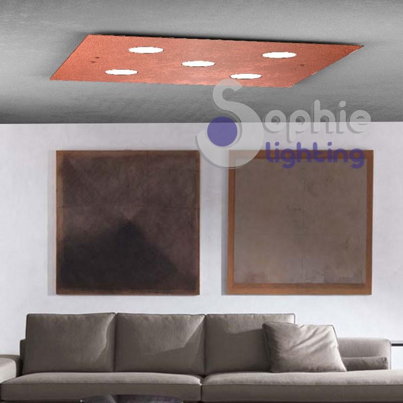 Lampada pannello LED inclusi colore luce a scelta vetro foglia rame