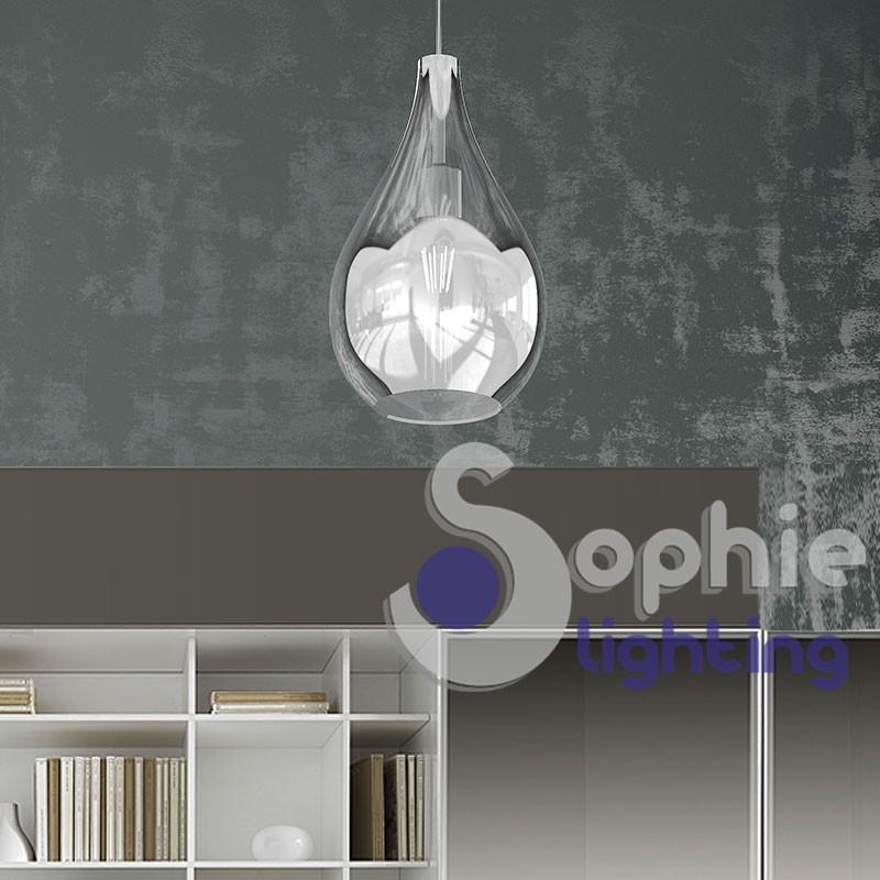 Lampada sospensione LED vetro cromato bicchiere tavolo penisola cucina