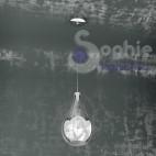 Lampada sospensione LED pendente comodino stanza letto vetro soffiato