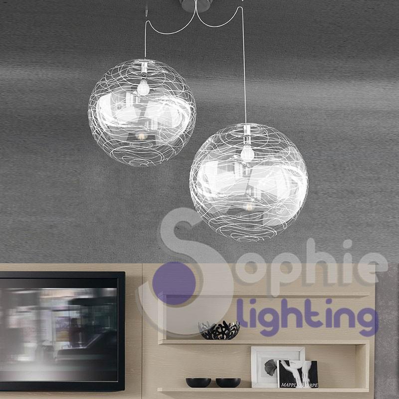 Sospensione 2 luci sfere 40 cm distanza regolabile decori bianchi LED