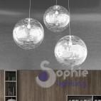 Lampada sospensione 3 sfere 40cm LED distanza regolabile tavolo cucina