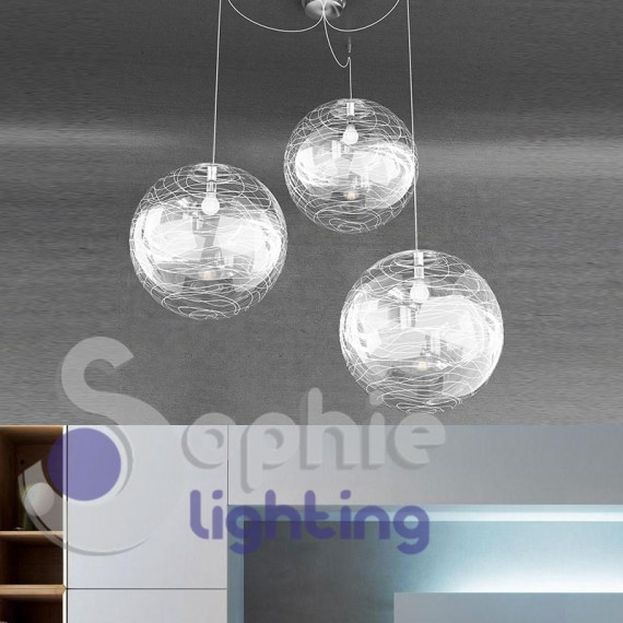 Lampadario bianco design moderno 3 luci led cucina tavolo for Luci cucina design