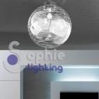 Plafoniera moderna LED soffitto sfera 40cm vetro decorato bianco bagno