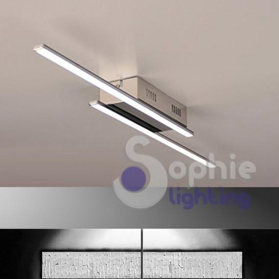 Lampada soffitto LED strisce acciaio cromato design moderno minimal