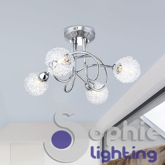 Plafoniera design moderno 4 luci led sfere vetro filo alluminio bagno for Luci bagno design