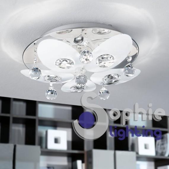 Plafoniera soffitto moderna design rotonda 40 cm filo alluminio cromato vetro satinato cucina