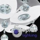 Plafoniera rotonda design moderno petali bianchi cristalli pendenti