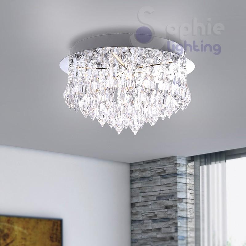 Lampada plafone rotondo LED 12W design moderno pendenti cristallo