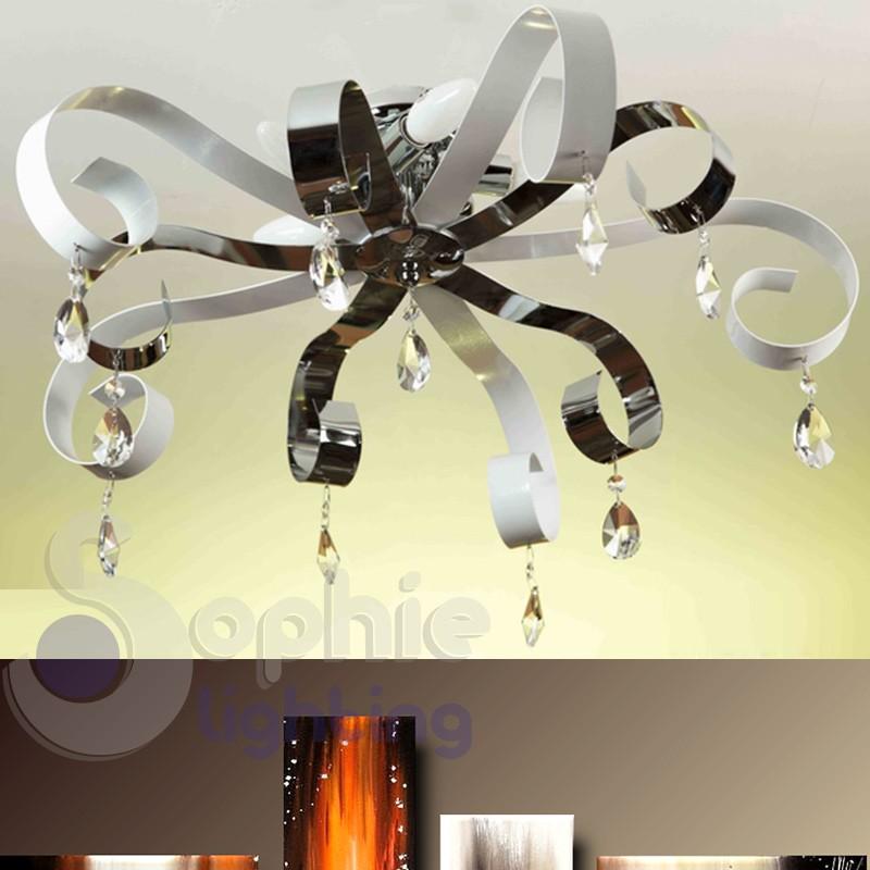 Plafoniera 5 luci fasce metallo bianco cromo pendenti cristallo salone