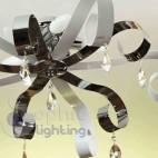 Plafoniera soffitto design moderno bracci rami foglie bianche 3 luci soggiorno stanza letto