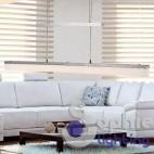 Lampadario moderno design sospensione doppio vetro cristalli lungo 80 cm soggiorno sala pranzo