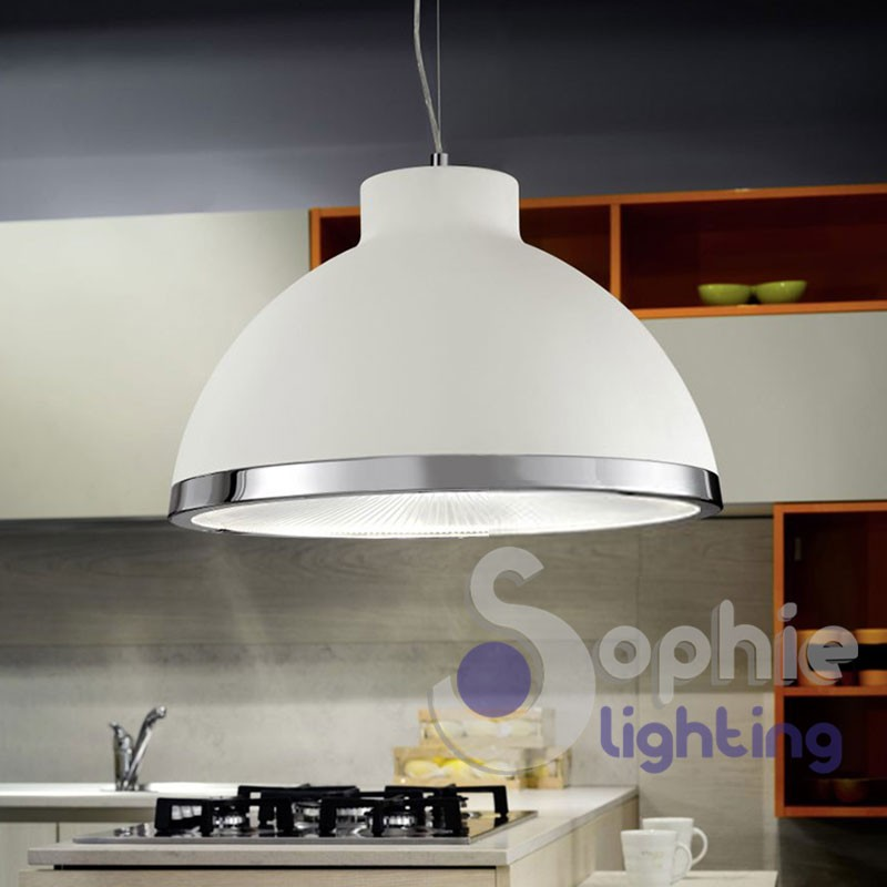 Lampada sospensione LED cupola bianca cromato regolabile cucina tavolo