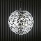 Lampadario grande diametro 75 cm sfera decori cromati soffitto alto