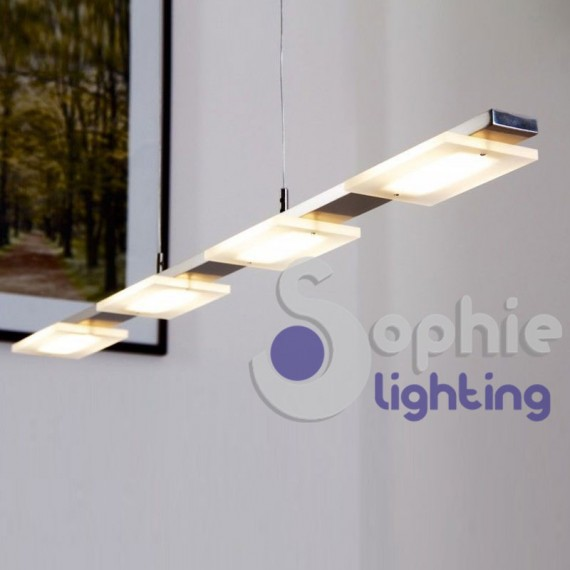 Lampadario moderno led 4 luci lungo 87 cm accio cromato tavolo cucina - Luci da tavolo design ...